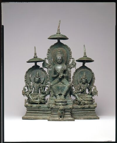 Unknown Indonesian, 'Enthroned Buddha Attended by the Bodhisattvas Avalokiteshvara and Vajrapani', second half of the 10th century