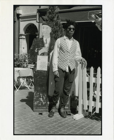 Michael Halsband, 'Jean-Michel Basquiat, Les Plats du Jour, Standing Outside Cafe Paris, France, July 1985', 1985