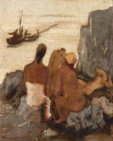 Fausto Pirandello, 'Bagnanti sugli scogli', 1931