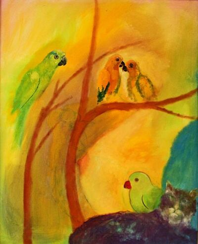 Tasaduq Sohail, 'Parrots and cat on yellow ground', Undated