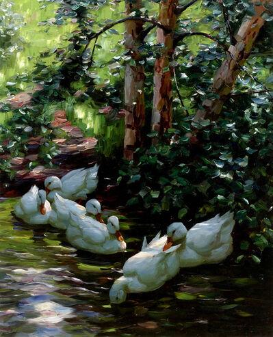 Alexander Max Koester, 'Sechs Enten im Wasser', Early 20th Century