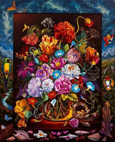 Ian Hornak, 'Very Baroque Flowerpiece with Red Birds of Paradise and Shining Parrot', 1989