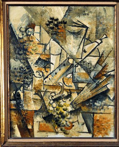Georges Braque, 'Natura morta con clarinetto, grappolo d'uva e ventaglio', ca. 1911