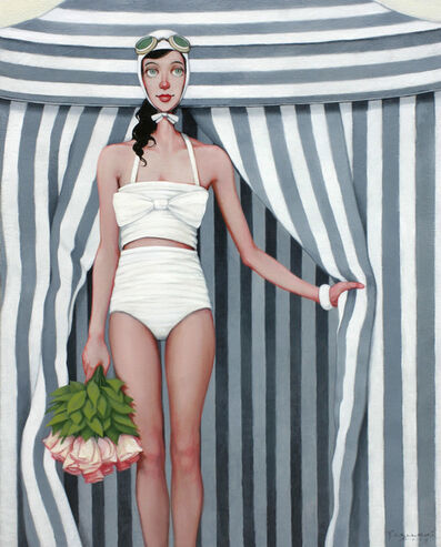 Fred Calleri, '''Bouquet'' oil painting of a woman in a white swimsuit and roses standing in front of grey striped tent ', 2019