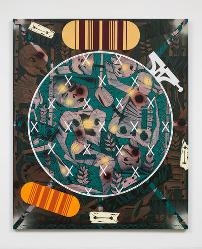 Lari Pittman, 'Needlepoint Sampler with Patches (#2) Depicting Daily Life of a Late Western Impaerium', 2013