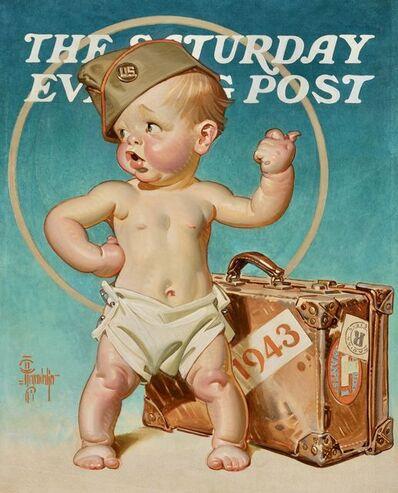 Joseph Christian Leyendecker, 'New Year's Baby Hitching to War', 1943