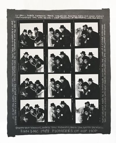 Janette Beckman, 'RUN DMC 1988 Pioneers of Hip Hop Contact Sheet (black border)', 2017