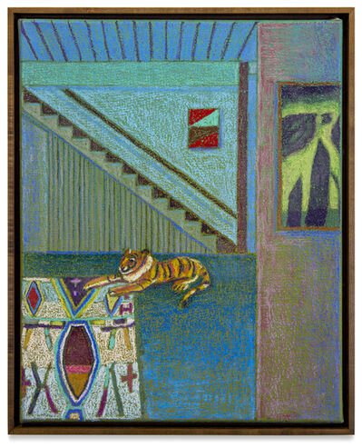 JJ Manford, 'Upstate Interior with Stuffed Tiger, Moroccan Rug & Albert Pinkham Ryder', 2020