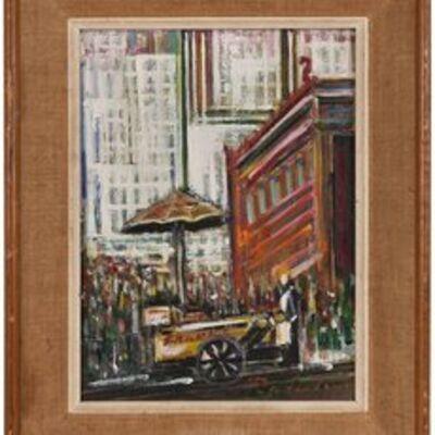 Unknown, 'Hot Dog Vendor, Manhattan, NYC Street Scene', Mid-20th Century