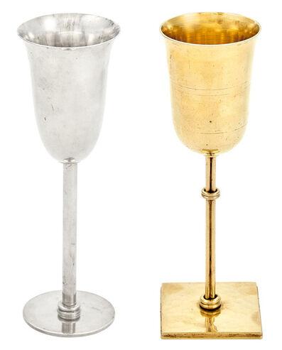 Jean Després, 'Two Jean Després Plated Metal Goblets'