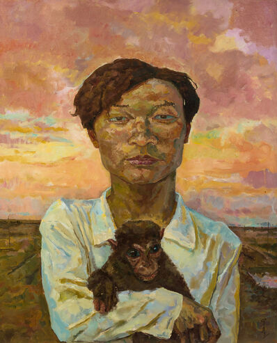 Luo Qing, 'Man Carrying a Monkey', 2001