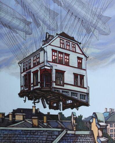 Alexei Svetlov, 'Flygende hvitt hus fra Øvre Korskirkesmauet i Bergen', 2019