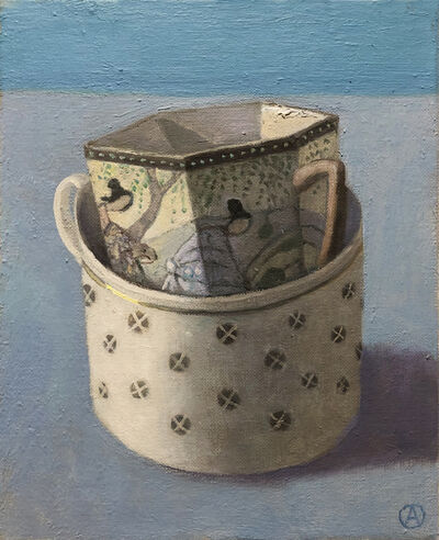 Olga Antonova, 'Two Stacked Cups on Blue', 2020