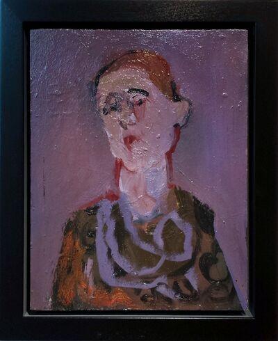 Jennifer Hornyak, 'Femme avec cheveaux rouges - small lavender, pink, purple, female figurative oil', 2014
