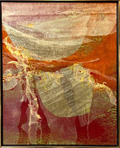 Robert Livsey Wells, 'Abstract Collage 1960s GOLDEN IMAGES Oil Painting', 1960-1969