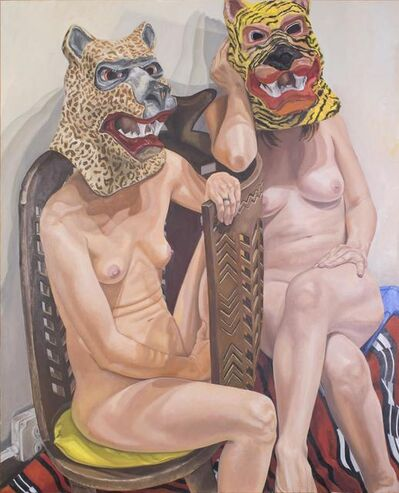 Philip Pearlstein, 'Two Models in Masks with African Chair', 2015
