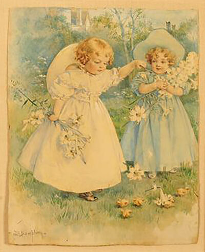 Maud Bogart Humphrey, 'Two Girls Playing with Flowers', 1905