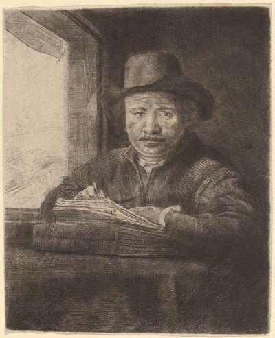 Rembrandt van Rijn, 'Self-Portrait Drawing at a Window', 1648