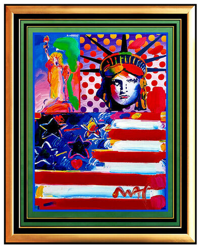 Peter Max, 'PETER MAX Original PAINTING God Bless AMERICA Statue of Liberty HEAD Signed Art', 21st Century