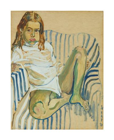 Alice Neel, 'OLIVIA IN A STRIPED CHAIR', 1973