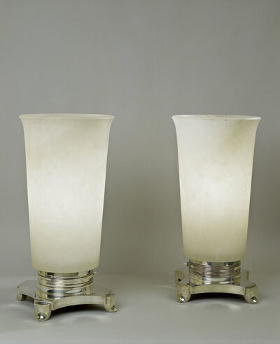 Jacques-Emile Ruhlmann, 'Pair of alabaster and bronze lamps', ca. 1928