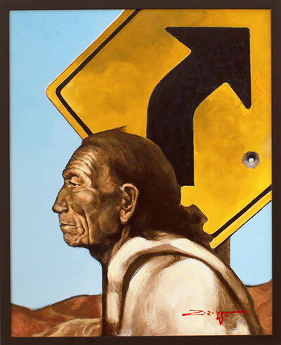 "Z.Z. Wei, 'Tribute to Berninghaus (after Oscar E. Berninghaus lithograph titled ""Old Pueblo Indian, Taos"")', 2020"