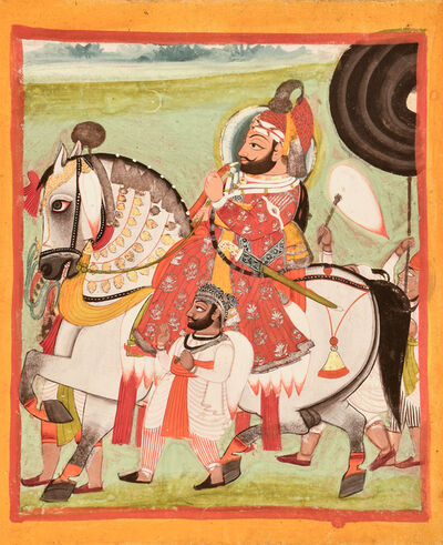 India, Mewar, 'An Equestrian Portrait of Maharana Bhim Singh of Mewar', Mid 19th century