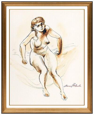 Aaron Bohrod, 'Aaron Bohrod Original Watercolor Painting Signed Female Modern Framed Artwork', 20th Century