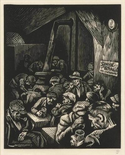 Eli Jacobi, 'MIDWINTER NIGHT; BAR IN FRONT', 1938 and 1939 respectively
