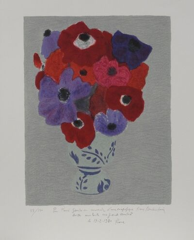 Pierre Boncompain, 'Red, fuchsia and purple anemones', ca. 1980