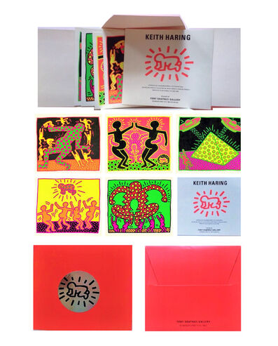 "Keith Haring, '""Apocalypse"", Promo Mini (5) Card Folio, Shafrazi Gallery NY', 1985"