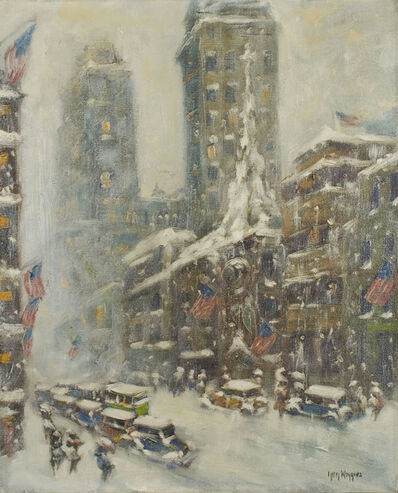 Guy Carleton Wiggins, 'Untitled (Flags Up Fifth Avenue)', ca. c. 1936-1941