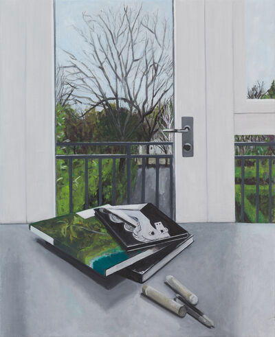 Ed Miliano, 'Still Life with Three Books, Two Oil Crayons and Two Tortillons ', 2019
