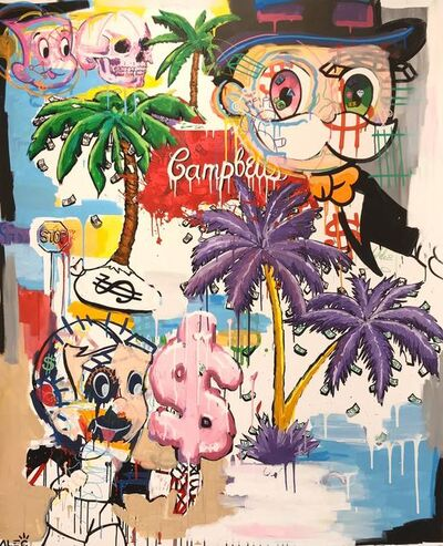 Alec Monopoly, 'Alec mixed retrospective with palm trees', 2019