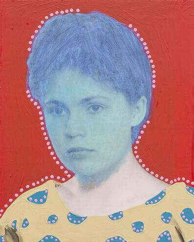 Daisy Patton, 'Untitled (Woman with Metallic Teal and Dots)', 2018