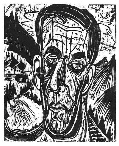 Ernst Ludwig Kirchner, 'Kopf Henry Van de Velde, Hell. - Van de Felde zwischen Bergen (Portrait of Henry Van de Felde between Mountains)', 1917
