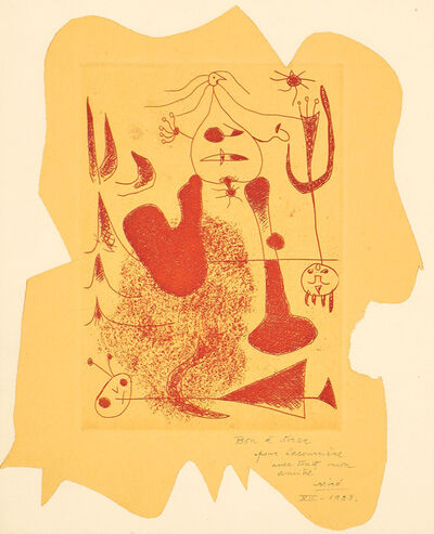 Joan Miró, 'Frontispiece, for Sablier couché (Reclining Hourglass) (D. 20, C. 5)', 1938