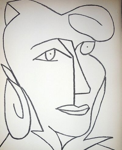 Françoise Gilot, 'Portrait Head of a Woman, Original French Mourlot Modernist Lithograph 1950s', 1951