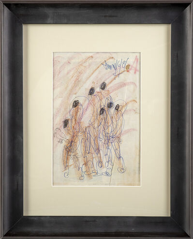 Purvis Young, 'Purvis Young Original Signed Crayon and Ink Figurative Drawing on Paper Contemporary Art', 1970-2010