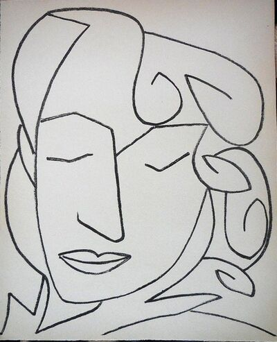Françoise Gilot, 'Portrait Head of a Woman, Original French Mourlot Modernist Lithograph', 1950-1959