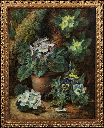 Oliver Clare, 'Still Life of Flowers on a Mossy Bank', 19th Century