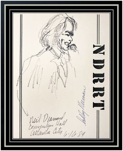 LeRoy Neiman, 'LeRoy NEIMAN Original Ink DRAWING Signed Neil Diamond Music AUTHENTIC ART Rare', 1984