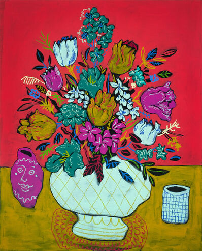 John Holcomb, 'Red Floral with Vases', 2018