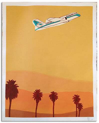 """Marz Junior, '""""Los Angeles Plane and Palms"""" - yellow vertical framed', 2015"""