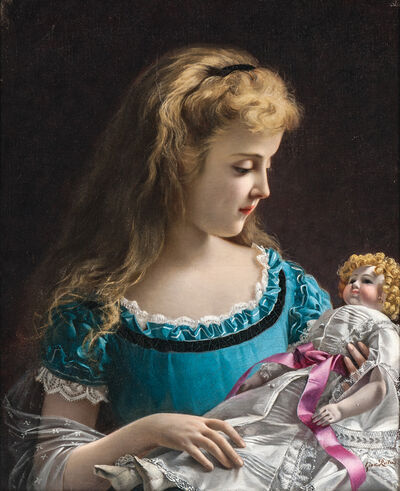 Giovanni Rota, 'Young Girl in Blue Holding a Doll'