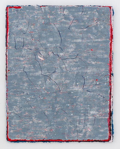 Kanchana Gupta, 'Edges and Residues 23 - Cadmium Red, Prussian Blue, white and Paynes Grey on Steel Blue and Bright Blue ', 2020
