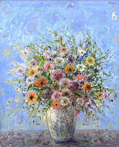 Bruno Zupan, 'Bouquet in Chinese Vase, Light Blue Ground', 2021