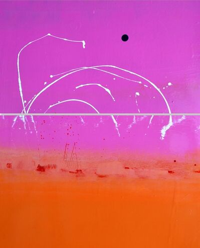 Anthony Hunter, 'Super Pink Sky Above Orange with Lovely White Squiggles and a Brilliant Blue Blob Painting Diptych'