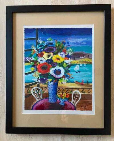 Shlomo Alter, 'Balcony View and Bouquet', Unknown