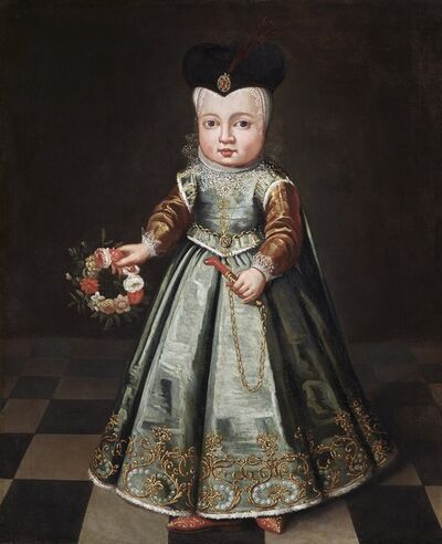 Dutch School, 'A noble child with a garland of flowers and coral teething toy ', ca. 1620